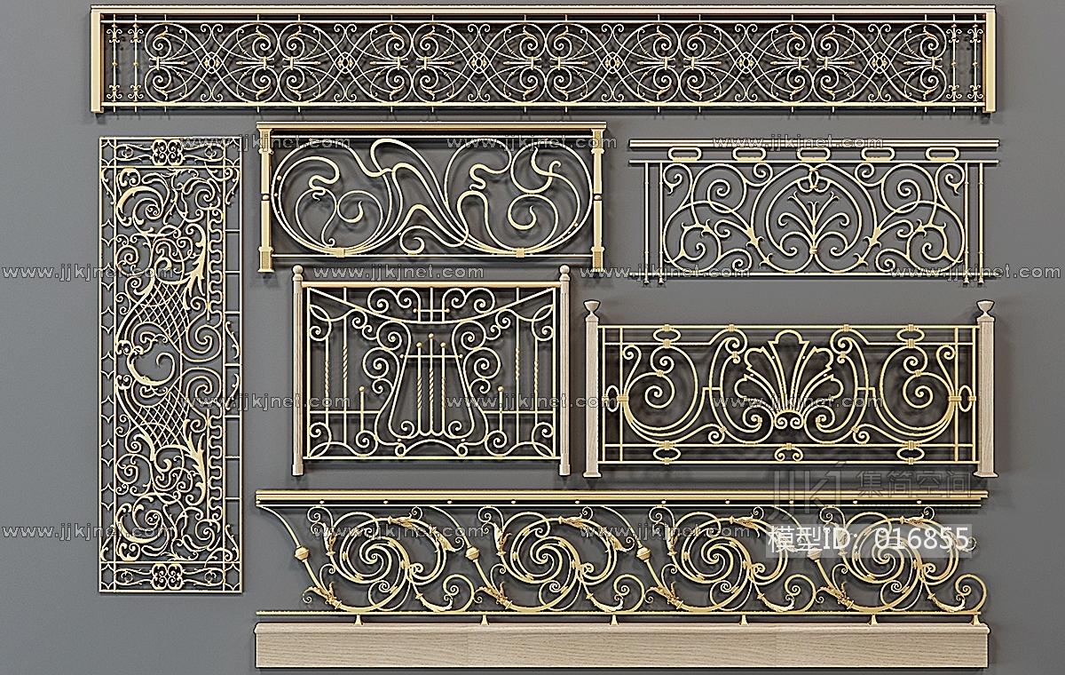 h56-0103欧式铁艺雕花栏杆图片