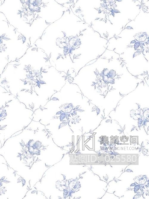 欧式田园乡村碎花大花纹理壁纸布料 (225)