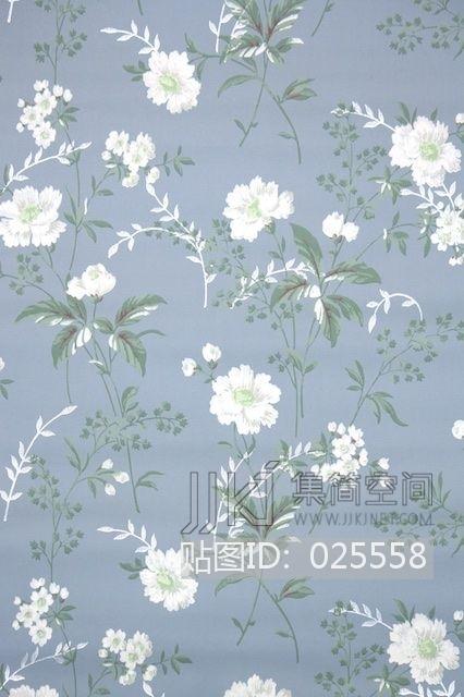 欧式田园乡村碎花大花纹理壁纸布料 (247)