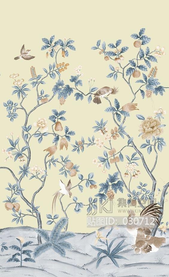 中式欧式田园花鸟壁纸壁画壁布背景画 (40)