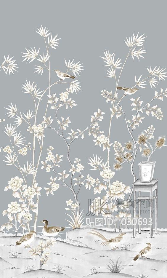 中式欧式田园花鸟壁纸壁画壁布背景画 (39)