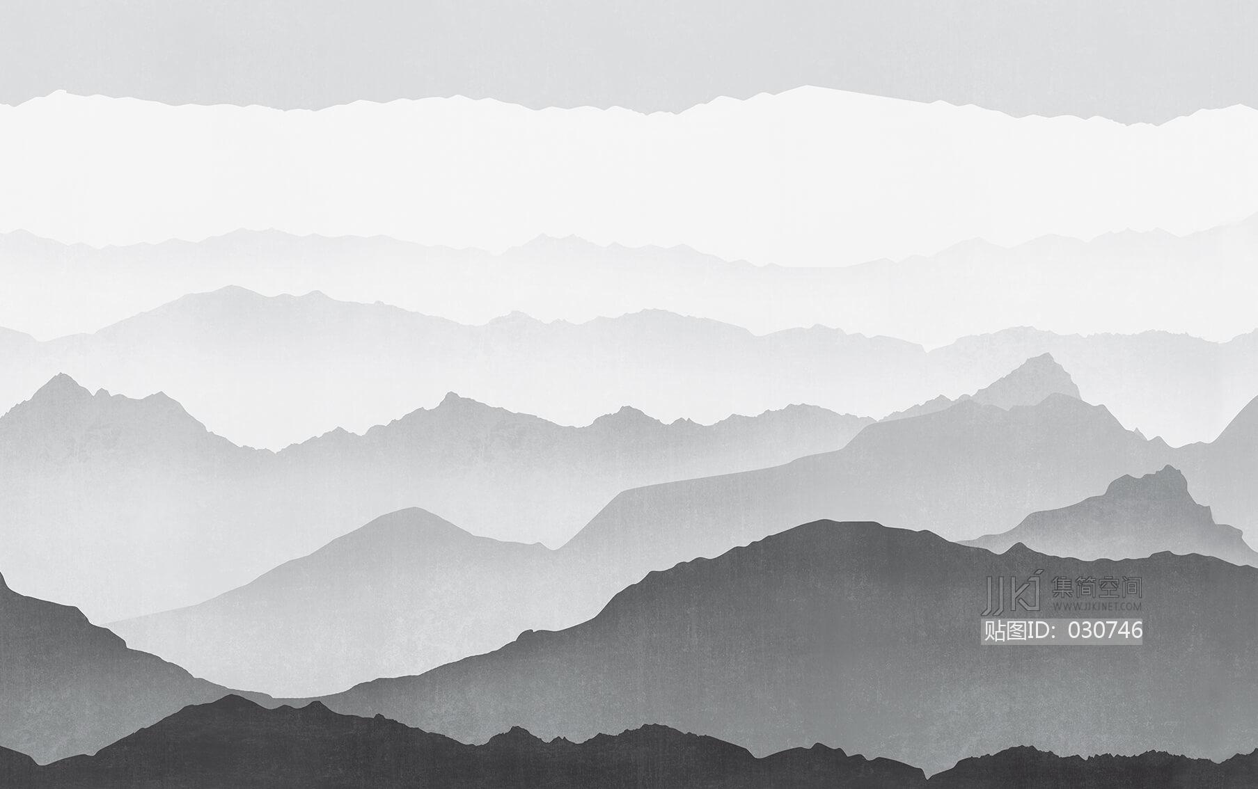 新中式水墨山水壁画壁布壁纸墙纸屏风图案 (49)