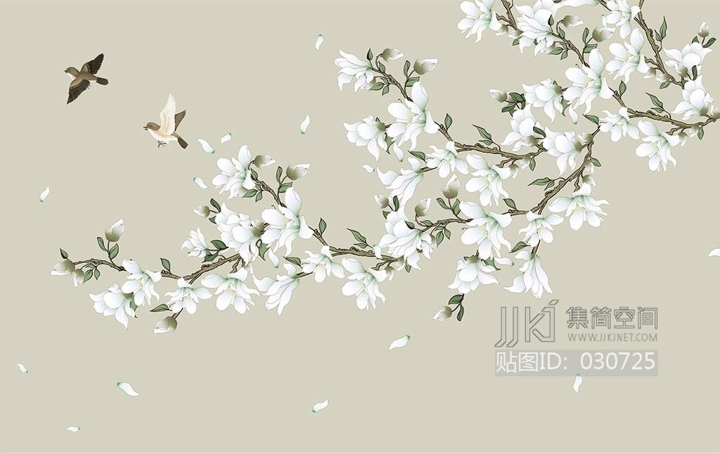 中式欧式田园花鸟壁纸壁画壁布背景画 (65)