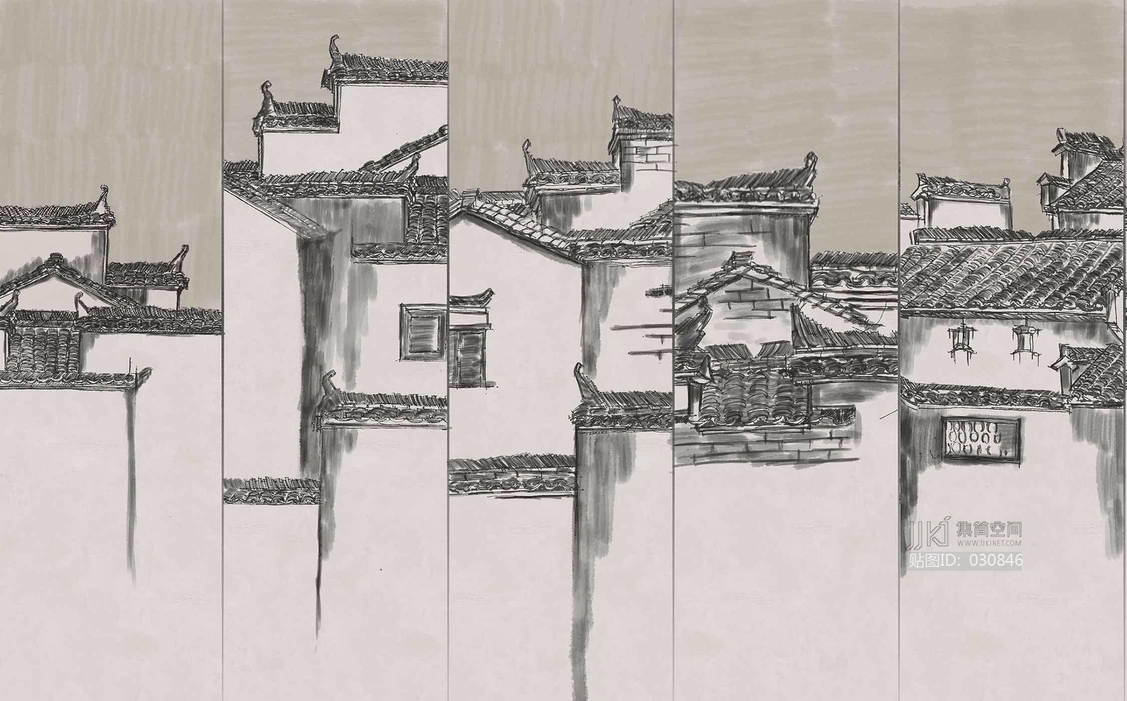 中式花纹 新中式徽派建筑壁纸壁画 (2)[贴图id:030846]  上传模型
