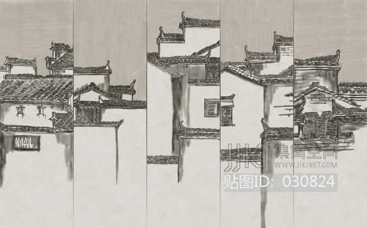 中式花纹 新中式徽派建筑壁纸壁画 1[贴图id:030824]  上传模型 上传