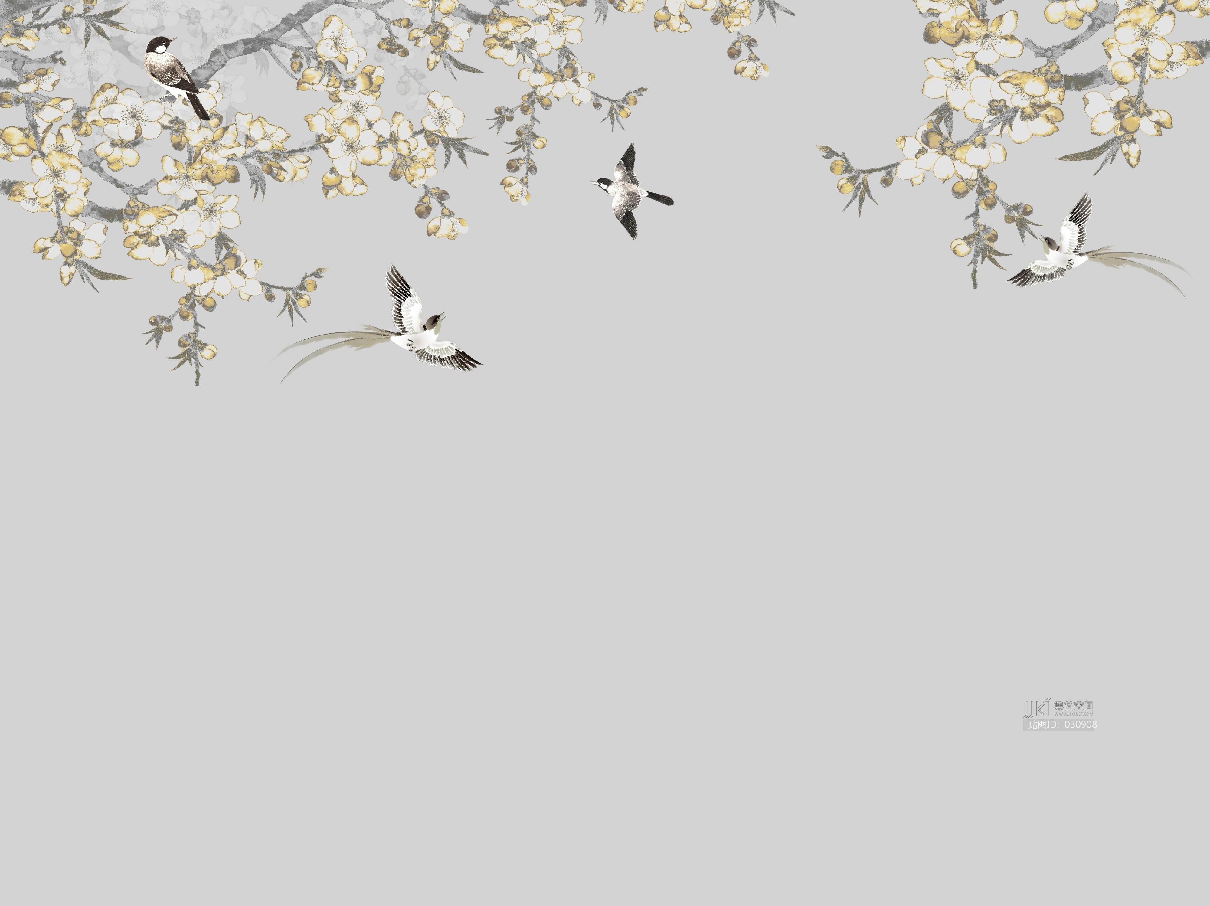 中式欧式田园花鸟壁纸壁画壁布背景画 (61)