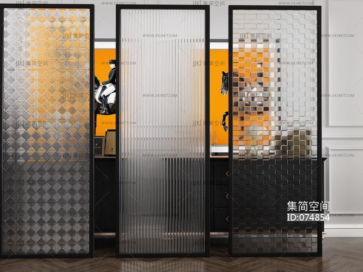 3d材质贴图免费下载_现代长虹玻璃隔断,屏风-【集简空间】3d模型_su模型_贴图_草图 ...