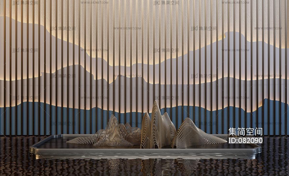 中式景观墙_新中式山脉造型格栅墙面, -【集简空间】3d模型_su模型_贴图 ...