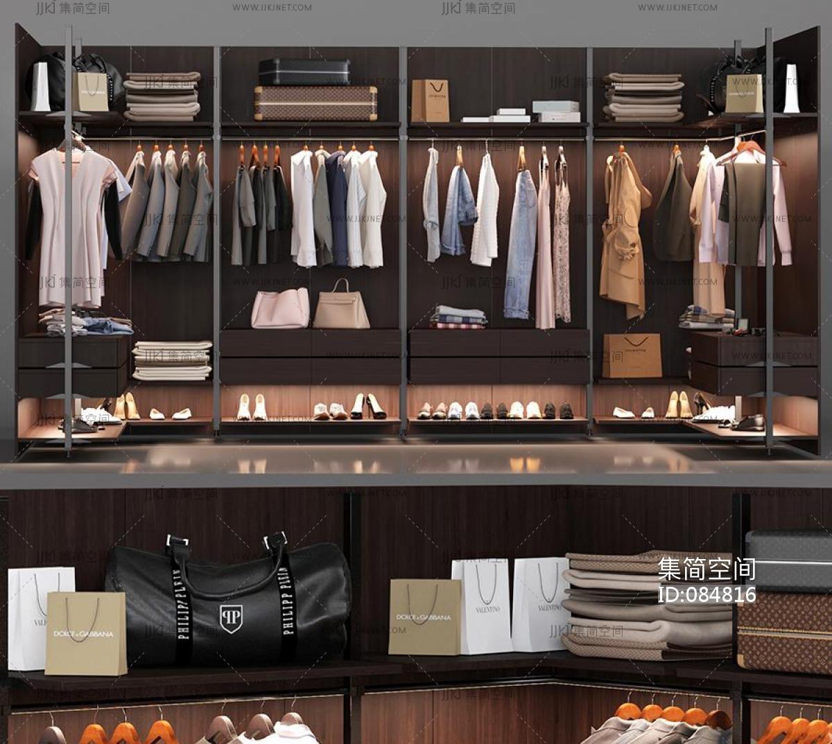 玄关鞋柜3d模型_衣柜服装,衣服衣柜衣橱-【集简空间】3d模型_su模型_贴图_草图 ...